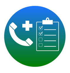 Medical consultration sign white icon in vector