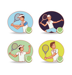 Men players tennis characters vector