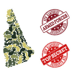 military camouflage collage of map of new vector image