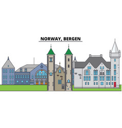 norway bergen city skyline architecture vector image