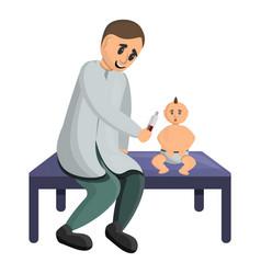 Pediatrician examine a baby icon cartoon style vector