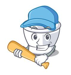 Playing baseball mortar character cartoon style vector