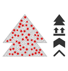 Polygonal mesh move up pictograph with infectious vector
