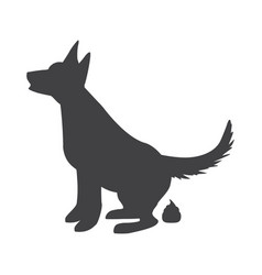 Poop dog silhouette dog pooping sign for vector