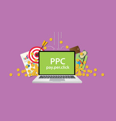 ppc pay per click business with gold money coin vector image