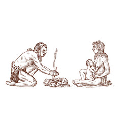 primitive people prehistoric period ancient vector image