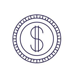 Purple line contour of coin icon vector
