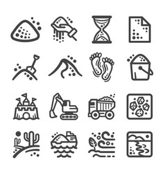 Sand icon set vector