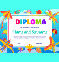 School education diploma template with kite vector