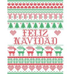 Seamless feliz navidad scandinavian style pattern vector