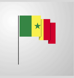 Senegal waving flag creative background vector