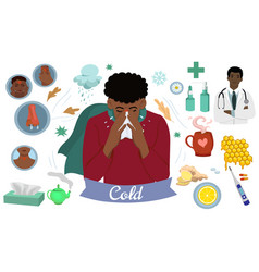 Set icons on theme common cold vector
