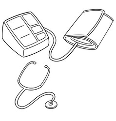 set of blood pressure monitor and stethoscope vector image