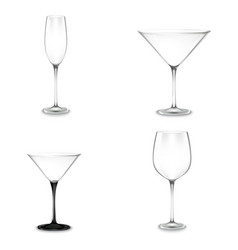 set of cocktail glasses for alcohol vector image