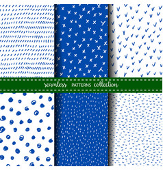 set of six hand drawn seamless patterns vector image