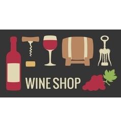 Set wine icon Bottle glass of wine bunch of vector image