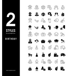 simple line icons birthday vector image