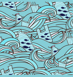 stop ocean plastic pollution seamless pattern vector image