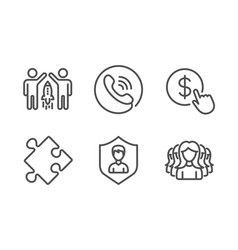 strategy call center and partnership icons set vector image