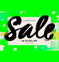 summer sale banner template green background vector image