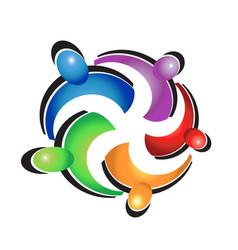 Teamwork colorful hug logo vector