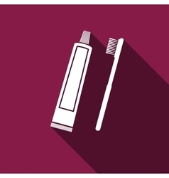 Toothbrush and toothpaste icon with long shadow vector image