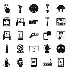 touch screen icons set simple style vector image