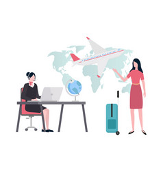 travel agency woman looking for tour for client vector image