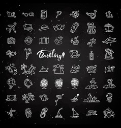 travel hand draw chalk icons icon lined cartoon vector image