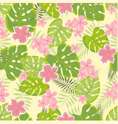 Tropical pattern with leaves and flowers vector
