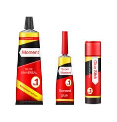Tubes of glue - adhesive stick super vector