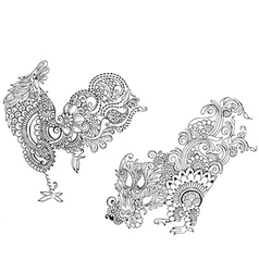 two cocks in the style of mehendi vector image