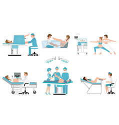 Various birthing of pregnant woman isolated on vector