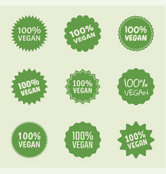 vegan logo icon set organic natural food labels vector image