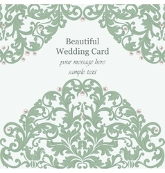 Wedding Invitation card pearls delicate lace vector