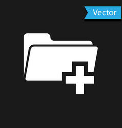 white add new folder icon isolated on black vector image