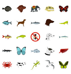 wild animals icons set flat style vector image vector image