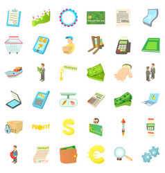 worker icons set cartoon style vector image