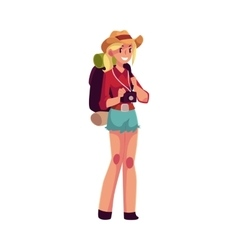 Young pretty girl travelling hitchhiking with vector image