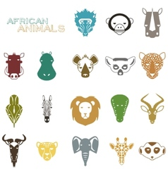 African Animals color icons vector image