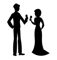 elegant couple in evening dress silhouette vector image
