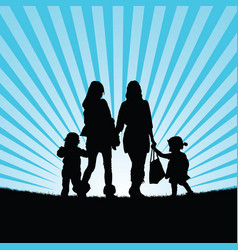 girls with children walking in nature silhouette vector image