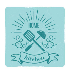 home kitchen home cooking label design vector image