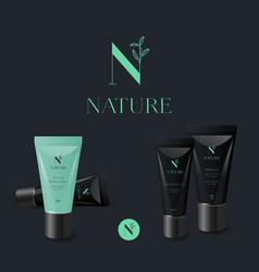 n organic logo cosmetic mock up tubes vector image