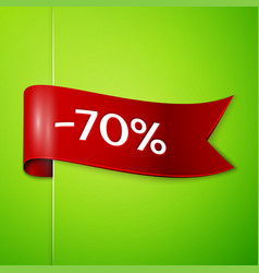 red ribbon with text seventy percent for discount vector image vector image