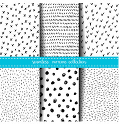 set of six hand drawn ink seamless patterns vector image vector image