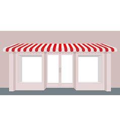 Showcase shop Rose Shop building Striped awning vector image
