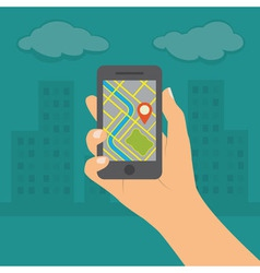 Smartphone with gps navigation vector image