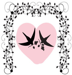 birds with roses and a heart vector image vector image