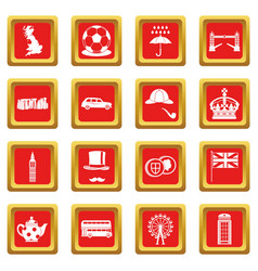 great britain icons set red vector image vector image